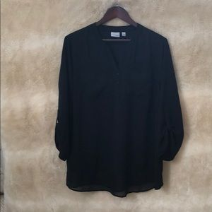 Sheer black blouse with three-quarter sleeves